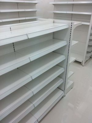 Pharmacy store gondola shelving