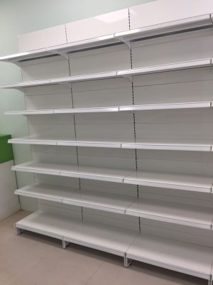 Pharmacy store shelving - Wall gondola