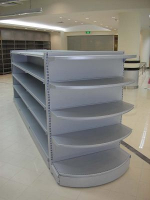 This basic island shelving unit is popular for both supermarkets and convenience stores