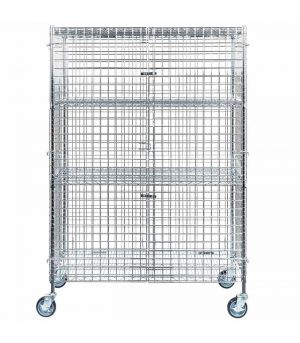 Security wire cage with castor wheels