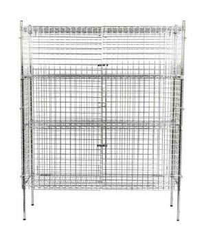 Free-standing security wire cage for storage